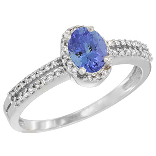 14K White Gold Natural Tanzanite Ring Oval 6x4mm Diamond Accent, size 10 ()