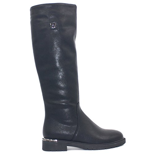 Haute Genou Rond Plats Automne Chaussures Boot Talons Bout Couleur Femmes Solide Zaproma Chaud Le Noir Hiver fwRP7qf0g