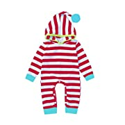 Baby Kids Stripe Triangular Cap Hairball Hat Long Sleeve Leggings Romper Bodysuit (3-6M(Tag80), Red)