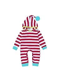 Baby Kids Stripe Triangular Cap Hairball Hat Long Sleeve Leggings Romper Bodysuit
