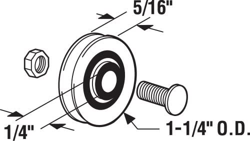 Prime-Line D 1504 Sliding Door Roller with Bolts 1-1//4-Inch Nylon Ball Bearing 2-Pack Prime-Line Products