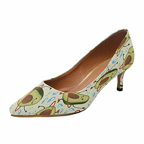 InterestPrint Womens Low Kitten Heel Pointed Toe Dress Pump Shoes Cute Fruit Character Doing Exercises With Hula Hoop Multi 1