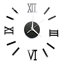 Large Wall Clock 3D Acrylic Mirror Sticker Roman Numerals DIY Big Watch with 80-120cm Diameter, Modern Creative Design, Removable Decoration for Home, Office, Bedroom, Living Room (Black)