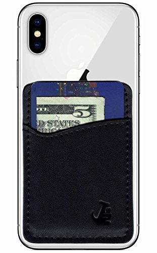 Premium Leather Phone Card Holder Stick On Wallet for iPhone and Android Smartphones Kangaroo (Black Leather) by Wallaroo (Leather Black Stick)