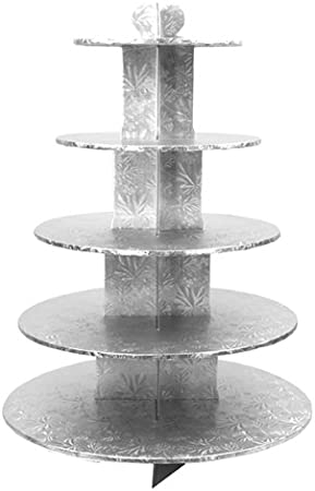 Cakesupplyshop Pp87a 5 Tier Silver Foil Wedding Birthday Party Cupcake Stand Holds 50cupcakes Everything Else