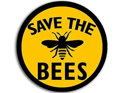 - MAGNET 4x4 inch Round Save The Bees Sticker (Anti Monsanto Beekeeper Yellow Black love) Magnetic vinyl bumper sticker sticks to any metal fridge, car, signs