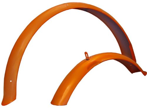 Firmstrong Beach Cruiser Bicycle Fender Set, Front/Rear, Orange, 26