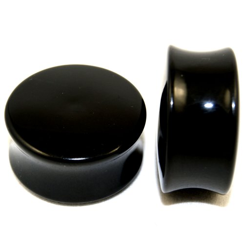 Double Flare Acrylic Solid Black Saddle Earlets Plugs 1 One Inch 25mm 1 Pair