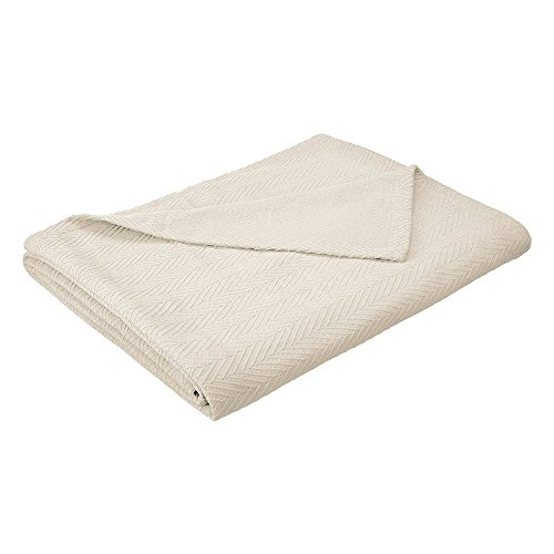 eLuxurySupply Metro Weave Blanket - 100% Soft Premium Cotton Blanket - Perfect for Layering Any Bed, Twin/Twin XL, Ivory