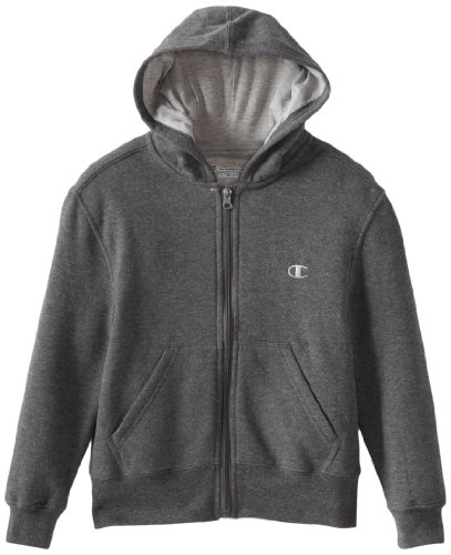 Champion big boys 39 authentic fleece zip front hoodie for Zip front flannel shirt