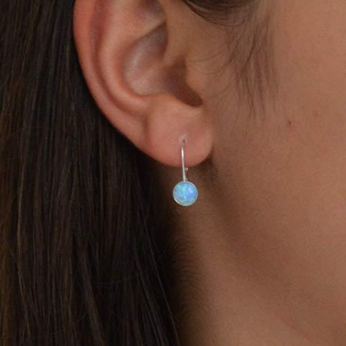 Blue Opal Dangle Earrings Sterling Silver Leverback hook 6mm gemstone