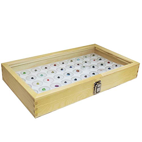 Mooca Wood Glass Top Jewelry Display Case, Wooden Jewelry Tray for Collectibles, Home Organization Storage Box with White 50 Gem and Bead Storage Jars