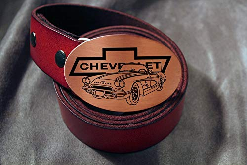 Corvette CHEVY Etched Metal Belt Buckle