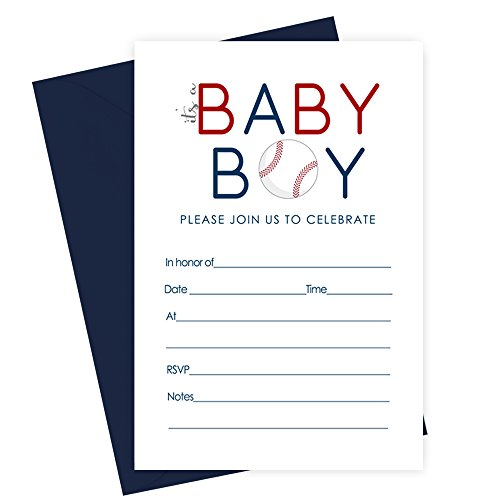 Shower Baby Sports Invitations (Baseball Baby Shower Invitations and Envelopes Fill in Set of 15)