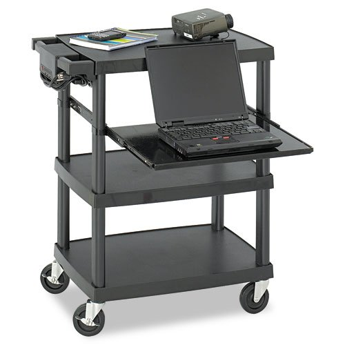 Safco : Three Shelf Multimedia Cart, 85lb Capacity, 27-3/4 x 18-1/2 x 36-3/4, Black -:- Sold as 2 Packs of - 1 - / - Total of 2 (Safco Computer Multimedia)
