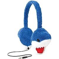 ReTrak Retractable Animalz Tangle-Free, Volume Limiting (85 dB) Over Ear Headphones for Kids, Blue Shark (ETAUDFSHRK)