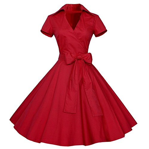 Ivan Johns Women's Vintage Short Sleeve Collar V-ck Party Swing Dress with Belt - Hill Cherry Outlets