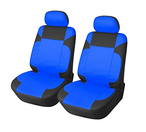 OPT Brand. Vinyl Leather 4 PC SET Toyota Corolla Prius Highlander Camry 4Runner Land Cruiser Avalon Yaris RAV4 Prius C V 2 Front Car Auto Seat Covers, Blue/Black Color. 7777153-BLUE