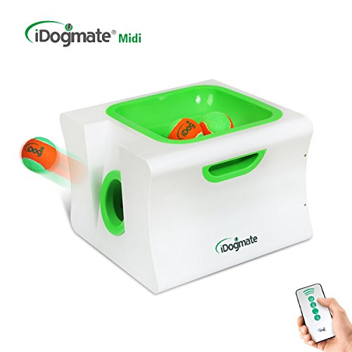 iDogmate Dog Ball Launcher, Automatic Ball Thrower for Large Dogs Rechargeable Remote Interactive Tennis Ball Machine -