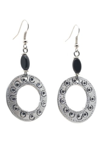Maisha African Fair Trade Trendy Hand Hammered Circle Antiqued Silver Color Earrings, Onyx Black Bead