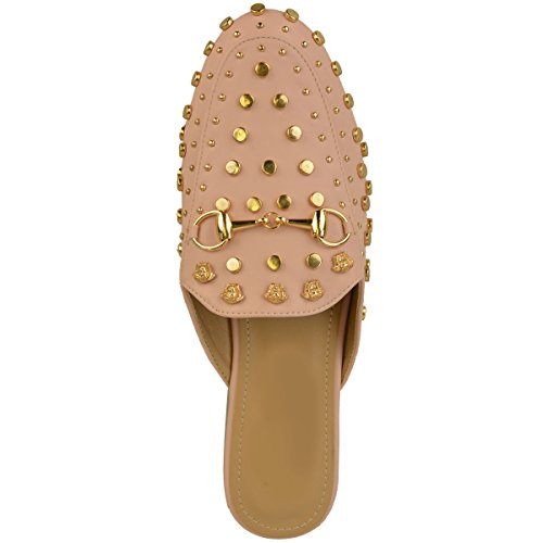 Mode Soif Femmes Slip Sur Plat Sliders Mocassins Cloutés Smart Travail Bureau Chaussures Taille Pastel Rose Faux Cuir / Goujons De Couleur Or