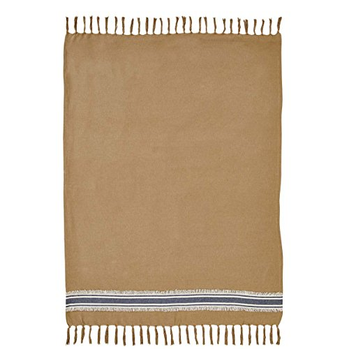 Mill Creek Burlap & Stripe Throw, Oversized, 70 x 55, Farmhouse Style (Throw Denim)