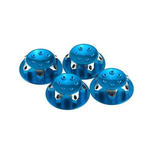 HobbyMarking 4Pcs RC Car 1/8 Scale 17mm Dust Lock Nuts Adapter for RC Off-Road Truck Redcat LOSI Team-C Wheel and Tire Accessories (Blue)