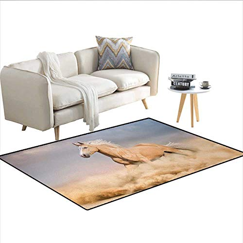 - Carpet,Palomino Horse in Sand Desert with Long Blond Male Hair Power Wild Animal,Print Area Rug,Purple Grey PeachSize:36