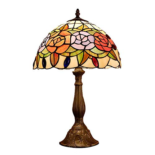 (QCKDQ 12 Inch Desk Light, Tiffany Style Table Lamp with Peony Stained Glass Lamp, Bedroom Bedside Desk Small Table Light Decorative E27,Max40w)