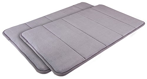 Memory Foam Bathmats - Pack of 2 Grey Bath Mat - Bathroom Mat with Fast Absorbency and Quick Dry - Bath Rugs with Anti-Skid Bottom - Shower Mats by Utopia Home