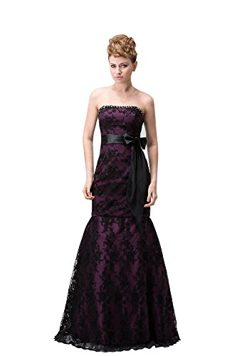 Vogue007 Womens Strapless Satin Pongee Full Dress with Hook Flower, ColorCards, 16 by Unknown