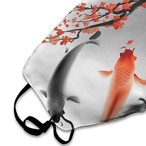 NYF Unisex Anti Dust Mouth Mask Koi Carps Couple Swimming with Cherry Blossom Sakura Branch Culture Activity Face Mask with Adjustable Earloops