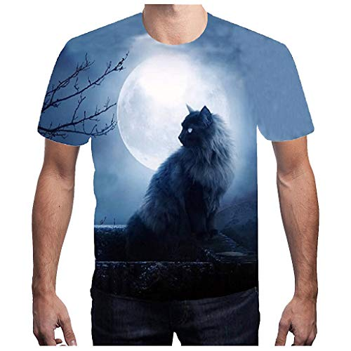 (MmNote mens clothes clearance sale, Handsome Cat Pattern Round Neck Casual Active Performance SportsShort Sleeve T-Shirt Blue)
