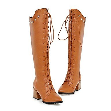 Brown Boots For Leatherette CN34 UK3 Casual Shoes Boots Comfort Dress High US5 Pointed Knee Toe Boots Women'S Spring EU35 RTRY Fall Fashion Riding Rivet Boots TZWRfFSnq