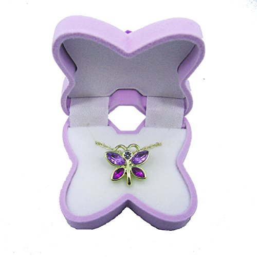 BUTTERFLY Necklace Charm Pendant w/ Crystal Wings in Butterfly Velour Gift Box - LAVENDER