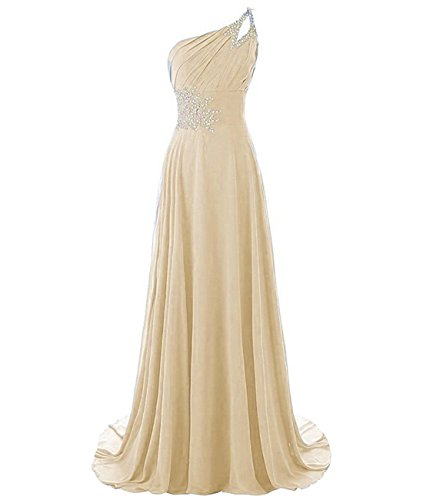 Sweep One Shoulder - Kivary Long A Line Beaded One Shoulder Formal Corset Prom Evening Dresses Champagne US 14