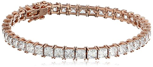 Rose Gold Plated Sterling Silver Princess-Cut Tennis Bracelet made with Swarovski Zirconia (5mm), 7.25