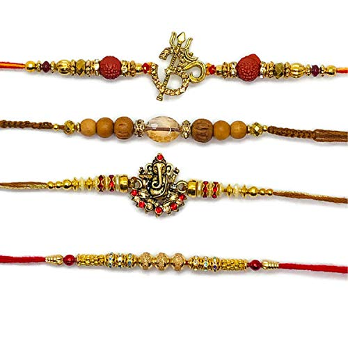 - Rakhi Threads, Raksha Bandhan Strand Bracelets Gift with Greeting Card for Your Brother/Siblings - Ganesha Idol & Flower Design, Multi Color Hand Made Rakhee Set (Gold)