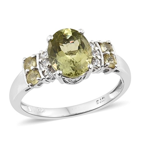 925 Sterling Silver Platinum Plated 2.9 cttw Oval Olive Apatite, Multi Gemstone Ring Size (Apatite Sterling Silver Ring)