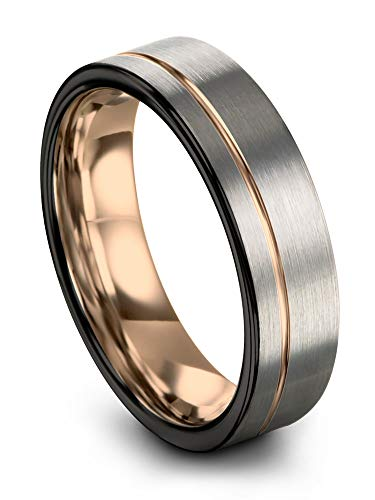 Midnight Rose Collection Tungsten Wedding Band Ring 7mm for Men Women 18k Rose Gold Plated Flat Cut Off Set Line Black Grey Brushed Polished Size 10