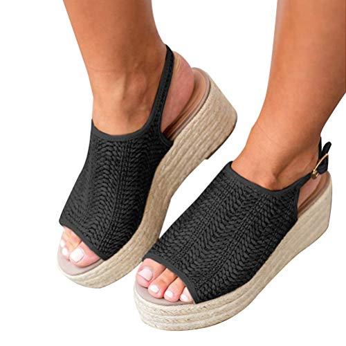 - Minetom Womens Espadrilles Platform Wedge Buckle Peep Toe Slingback Sandals Black 7 M US