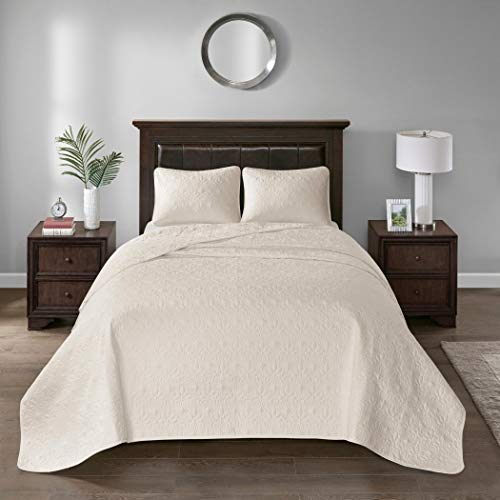 3 Piece Oversized King Bedspread to the Floor Set, Solid Ivory Cream Warm Tone, 120 Inches X 118 Inches, Coverlet Allover Quilt Drops Over Edge of King Beds, Microfiber, Stylish - Quilt 120 Oversized 118 X