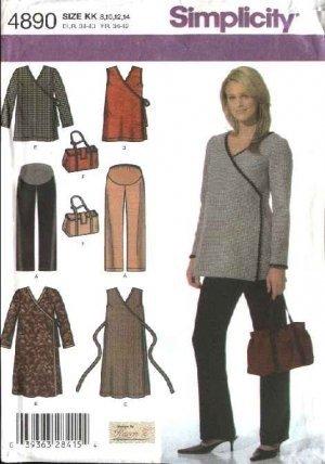 SIMPLICITY 4890 MATERNITY DRESS, TOP, PANTS & BAG SEWING PATTERN BY KAREN Z MISSES' SIZE KK: 8, 10, 12 , 14