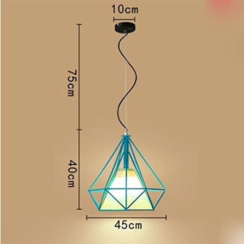 Unbekannt PIN Gzz Deng Home Außenbeleuchtung Pendelleuchte Kronleuchter Deckenleuchte Shade Europäischen Stil Eisen Industrielle Beleuchtung Blau 45 cm