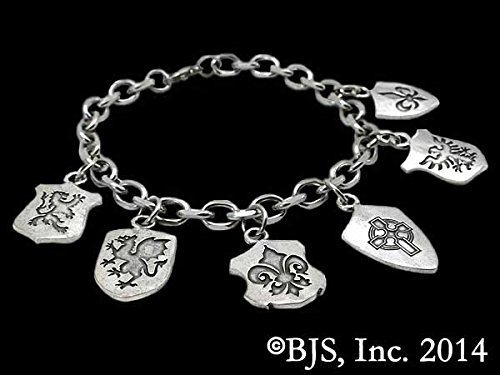 3D Harry Dresden's © 6 Shield Charm Bracelet Lion Dragon Fleur Celtic Cross Phoenix in Bronze 9