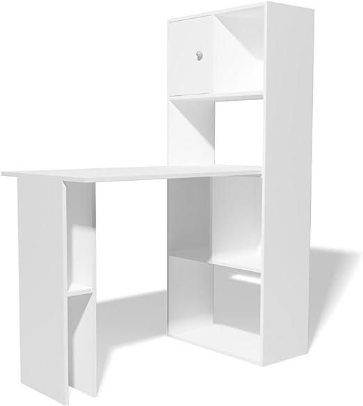 vidaXL Escritorio Estantería 114x60x145 cm Blanco Mueble Mesa ...