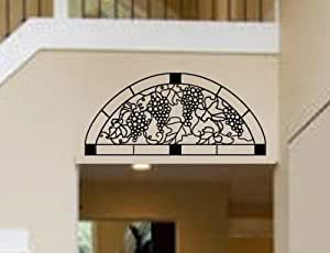 Tuscany Grape Vine Half Moon Transon Faux Stained Glass