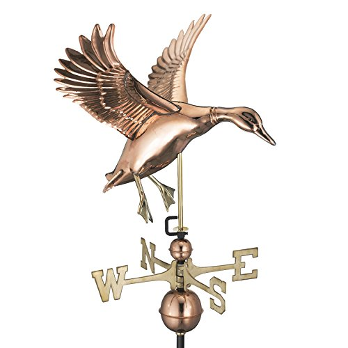 Good Directions Landing Duck Weathervane, Pure Copper -