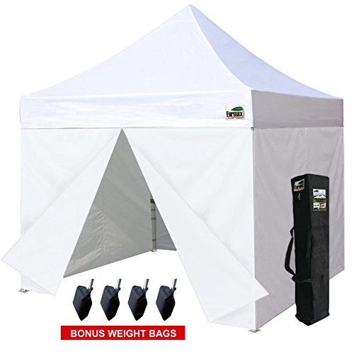 Eurmax 10x10 Ez Pop up Canopy Tent, Commercial Outdoor Tent with 4 Zippered Side Walls and Carry Bag, (10 Pop Up Canopy)