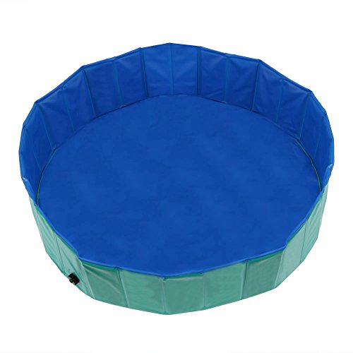 Fuloon Foldable Multifunctional Dog Paddling Pool Puppy Cats Swimming Bathing Tub Pet Children Kid Ball Pit Pool in Safty PVC M 120(Dia)30(H))Green by Fuloon